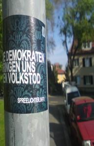 die demokraten bringen uns den volkstod - beispiel rechtsextremer plakatierung in dresden laubegast